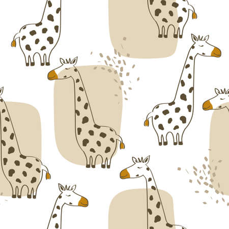 Giraffes, hand drawn backdrop. Colorful seamless pattern with animals. Decorative cute wallpaper, good for printing. Overlapping background vector.