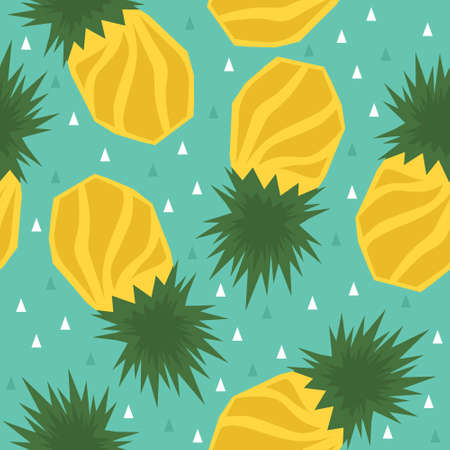 Exotic fruits, hand drawn overlapping background. Colorful tropical wallpaper vector. Seamless pattern with pineapples. Decorative colored illustration, good for printing Illusztráció
