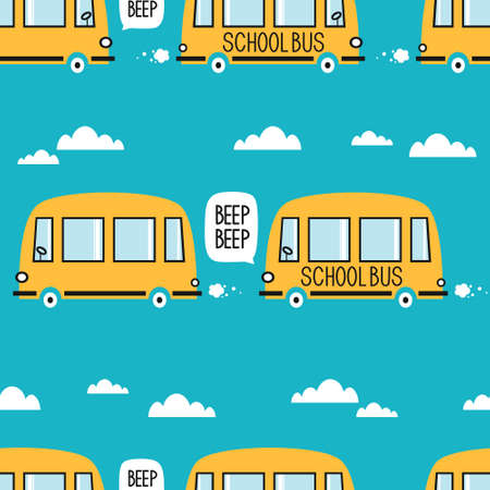 Yellow buses, hand drawn backdrop. Colorful seamless pattern with transport. Decorative cute wallpaper, good for printing. Overlapping colored background vector
