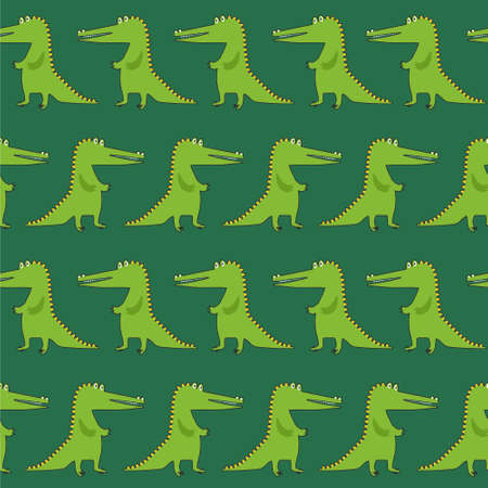 Crocodiles, hand drawn backdrop. Colorful seamless pattern with animals. Decorative cute wallpaper, good for printing. Overlapping background vector. Design illustration