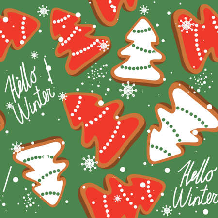 Gingerbreads, biscuits hand drawn overlapping background. Colorful seamless pattern vector with food. Decorative cute wallpaper, good for printing. Christmas trees, Happy New Year Vector Illustration