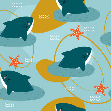 Sharks, sea stars, hand drawn seamless pattern. Marine background vector. Colorful illustration, overlapping backdrop. Decorative cute wallpaper, good for printing