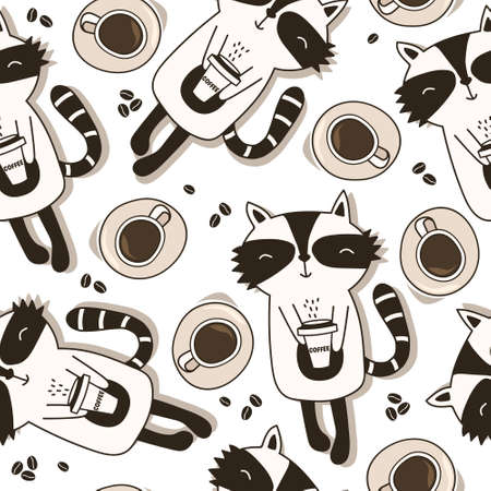 Raccoons, cups with coffee, hand drawn backdrop. Black and white seamless pattern with animals. Decorative cute wallpaper, good for printing. Overlapping background vector