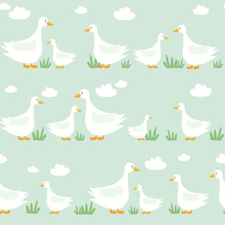 Seamless pattern, birds, hand-drawn overlapping backdrop. Colorful background. Cute illustration, geese. Decorative wallpaper, good for printing 向量圖像
