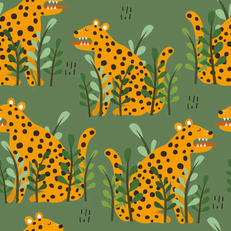 Leopards, plants, hand drawn backdrop. Colorful seamless pattern with animals. Decorative cute wallpaper, good for printing. Overlapping background. Design illustration 向量圖像