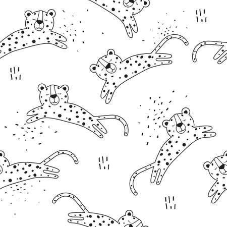 Leopards, hand-drawn backdrop. Seamless pattern with animals. Decorative cute wallpaper, good for printing. Overlapping background. Design illustration
