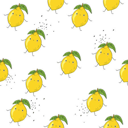 Lemons background. Hand drew overlapping backdrop. Colorful wallpaper. Seamless pattern with fruits. Decorative illustration, good for printing