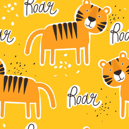 Tigers, English text, hand-drawn backdrop. Colorful seamless pattern with animals. Decorative cute wallpaper, good for printing. Overlapping background. Design illustration