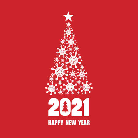 Red and white background with 2021, christmas fir tree, snowflakes. Decorative backdrop vector. Hand drawn poster design, english text. Happy New Year, colorful greeting card. Winter time Illusztráció