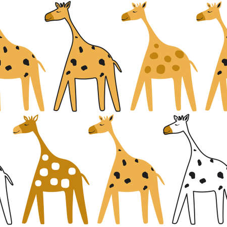 Giraffes, hand-drawn backdrop. Colorful seamless pattern with animals. Decorative cute wallpaper, good for printing. 版權商用圖片 - 157732963