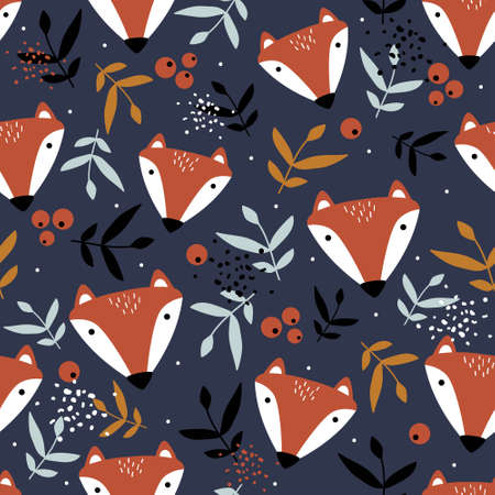 Foxes, hand-drawn backdrop. Colorful seamless pattern with animals. Decorative cute wallpaper, good for printing. 版權商用圖片 - 157732965