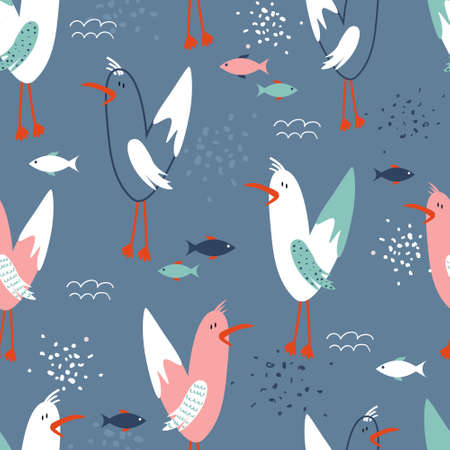 Seamless pattern, birds and fishes, hand drawn overlapping backdrop. Colorful background vector. Cute illustration, seagulls. Decorative wallpaper, good for printing