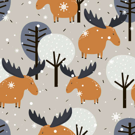 Deers, trees, hand drawn backdrop. Colorful seamless pattern with animals, forest. Decorative cute wallpaper, good for printing. Overlapping background vector. Design illustration 版權商用圖片 - 157582071