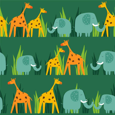Happy elephants, giraffes, hand drawn backdrop. Colorful seamless pattern with animals. Decorative cute wallpaper, good for printing. Overlapping background vector