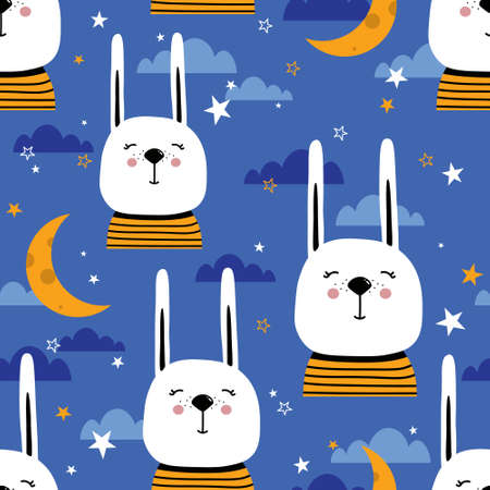 Bunnies, stars, moon and clouds hand drawn backdrop. Colorful seamless pattern with animals. Decorative cute wallpaper, good for printing. Overlapping background vector. Design illustration, rabbits