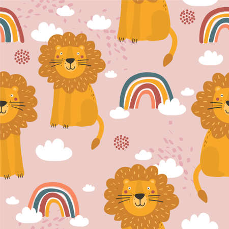 Lions, hand drawn backdrop. Colorful seamless pattern with animals, rainbow. Decorative cute wallpaper, good for printing. Overlapping colored background vector. Design illustration