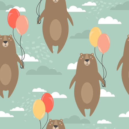 Bears, air balloons, hand drawn backdrop. Colorful seamless pattern with animals. Decorative cute wallpaper, good for printing. Overlapping colored background vector. Design illustration 向量圖像