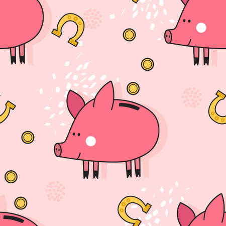 Happy pigs, hand drawn backdrop. Colorful seamless pattern with animals, coins, horseshoes. Decorative cute wallpaper, good for printing. Overlapping background vector. Design illustration