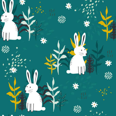 Bunnies, plants, hand drawn backdrop. Colorful seamless pattern with animals. Decorative cute wallpaper, good for printing. Overlapping background vector. Design illustration, rabbits