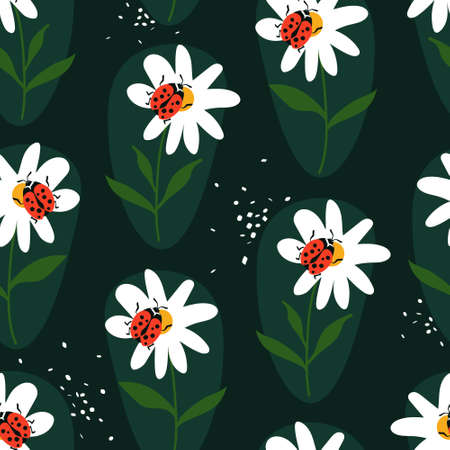 Seamless pattern, ladybugs and flowers, hand drawn overlapping backdrop. Colorful background vector. Cute illustration, insects. Decorative wallpaper, good for printing