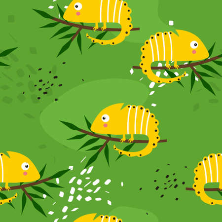 Chameleons, branches, hand drawn backdrop. Colorful seamless pattern with reptiles. Decorative cute wallpaper, good for printing. Overlapping background vector. Design illustration