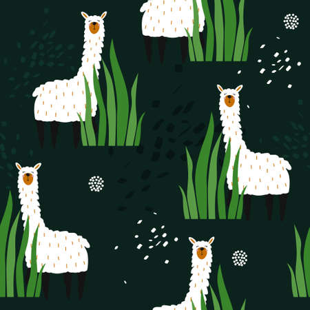 Lamas, plants, hand drawn backdrop. Colorful seamless pattern with animals. Decorative cute wallpaper, good for printing. Overlapping background vector, happy alpacas. Llama