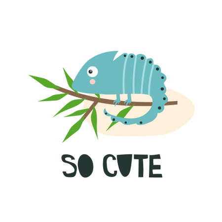 Hand drawn illustration with chameleon, branch, english text. So cute. Background. Poster design with reptile. Decorative backdrop vector. Funny card 版權商用圖片 - 157698885