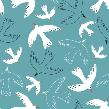 Seamless pattern, birds, hand drawn overlapping backdrop. Colorful background vector. Cute illustration, seagulls. Decorative wallpaper, good for printing