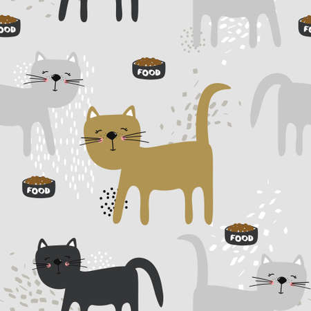 Happy cats, hand drawn backdrop. Colorful seamless pattern with animals. Decorative cute wallpaper, good for printing. Overlapping background vector. 向量圖像