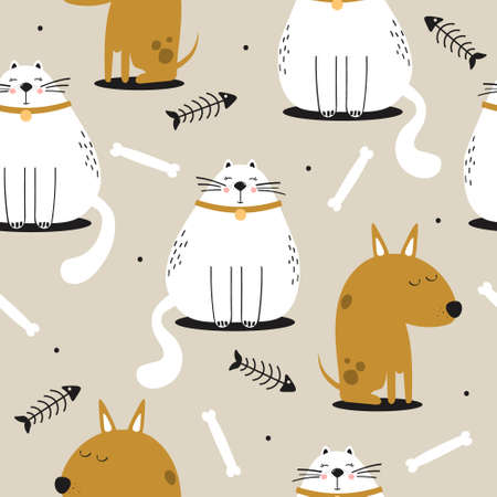 Happy cats, dogs, hand drawn backdrop. Colorful seamless pattern with animals, fishes, bones. Decorative cute wallpaper, good for printing. Overlapping background vector.