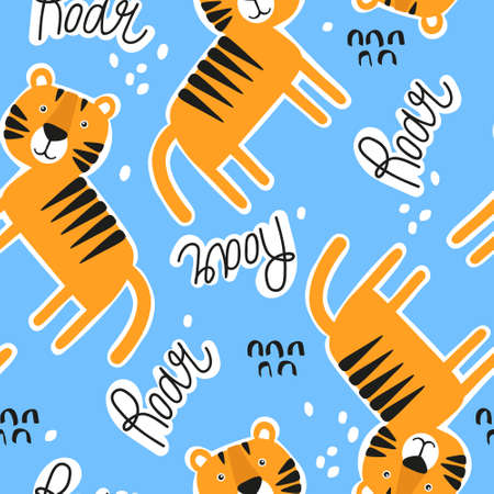 Tigers, english text, hand drawn backdrop. Colorful seamless pattern with animals.