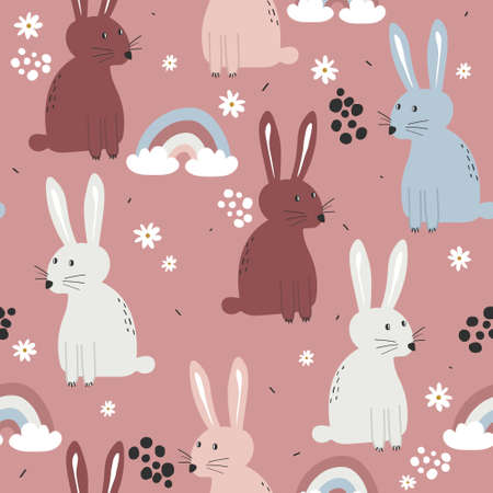 Bunnies and flowers, hand drawn backdrop. Colorful seamless pattern with animals. 向量圖像
