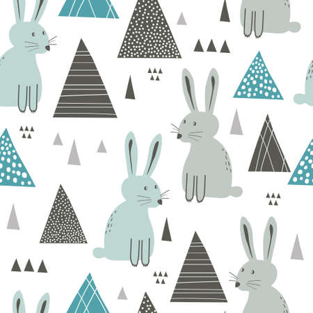 Bunnies, hand drawn backdrop. Colorful seamless pattern with animals. 向量圖像