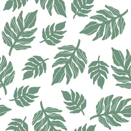 Palm leaves, background. Overlapping backdrop. Colorful wallpaper vector. Seamless pattern. Decorative illustration, good for printing