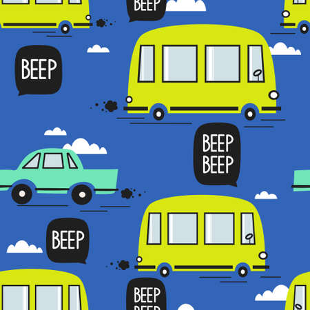 Cars, buses, hand drawn backdrop. Colorful seamless pattern with transport. Decorative cute wallpaper, good for printing. Overlapping colored background vector  イラスト・ベクター素材