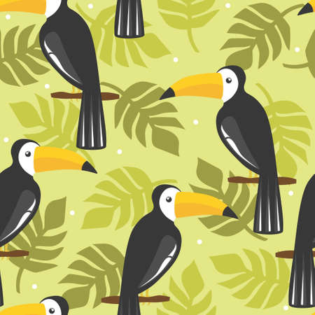 Seamless pattern, birds, palm leaves, hand drawn overlapping backdrop. Colorful background vector. Cute illustration, toucans. Decorative wallpaper, good for printing