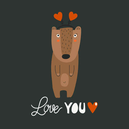 Hand drawn illustration, happy bear, heart, english text. Colorful background vector. Poster design with animal. Love you. Decorative backdrop, good for printing