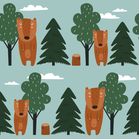 Seamless pattern, bears, trees, fir trees, hand drawn overlapping backdrop. Colorful background vector. Illustration with animals. Decorative wallpaper, good for printing
