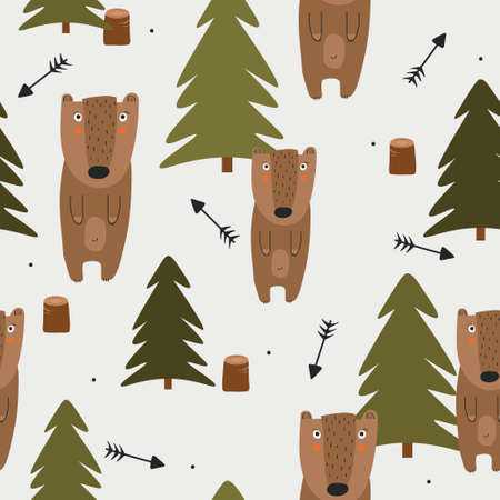 Seamless pattern, bears, fir trees, hand drawn overlapping backdrop. Colorful background vector. Illustration with animals. Decorative wallpaper, good for printing