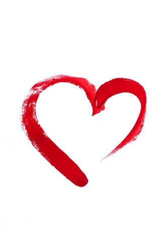 Corazón rojo dibujado a mano sobre un fondo blanco