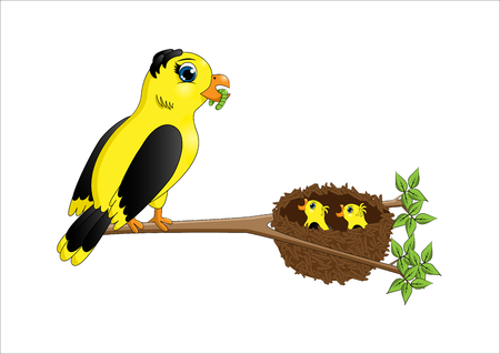 Cartoon mother bird feeding chicks in the nest on a white background Illustration