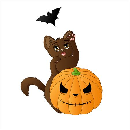 black and white: Cute cat catching a bat Illustration