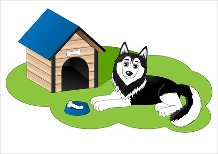 Cute cartoon husky next to dog house