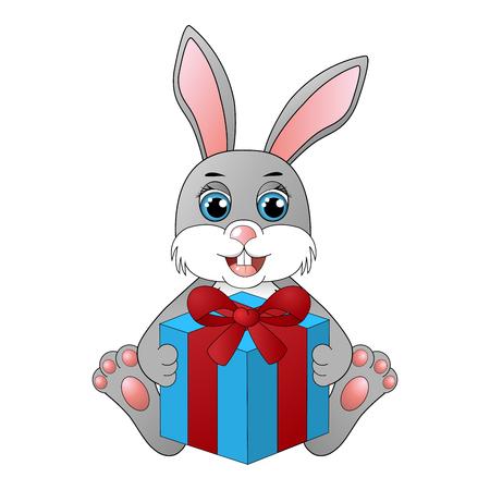 Cute cartoon rabbit with a gift box