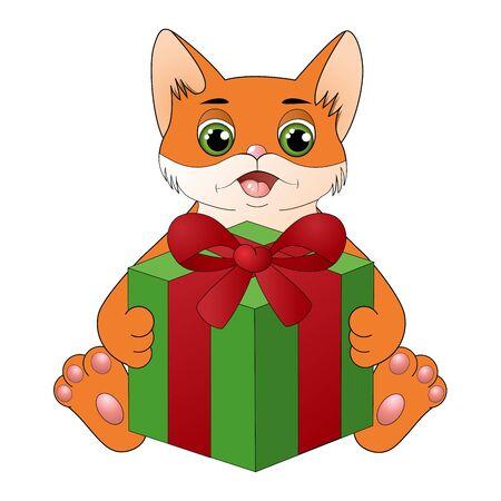 Cute cartoon cat with a gift box