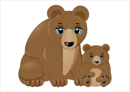 Mother and baby bear illustration.