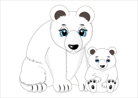 Mother and baby polar bear illustration. Vettoriali