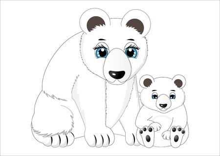 Mother and baby polar bear illustration. Illustration