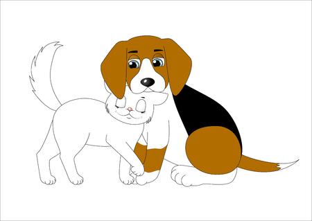 Cute cartoon dog and cat Illustration