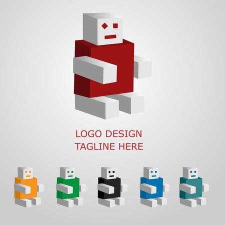 3d funny robot, logo on white background